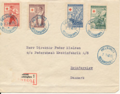 Finland Registered FDC 7-1-1946 Complete Set Of 4 Red Cross Sent To Denmark  (bended Cover And Some Of The R-label Is Mi - Finland