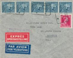432/30 - Lettre PAR AVION + EXPRES TP Poortman 5 X 1 F 75 + Col Ouvert Télégraphique ANTWERPEN TT 1939 Vers USA - 1936-1951 Poortman