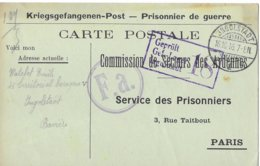Ardenne Mahan  Emile Watelet  Ungolstadt 1  Prisonnier - Poststempel (Briefe)