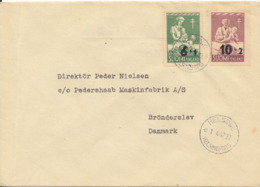 Finland FDC 1-4-1947 Tuberculosis Complete Set Of 2 Overprinted Stamps Sent To Denmark - Finland