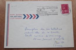 974 La Réunion - Flamme 1977 - St Denis - La Réunion France De L'océan Indien Place Roland Garros - Thème Aviation - Postmark Collection (Covers)