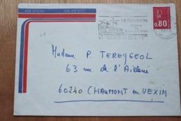 974 La Réunion - Flamme 1975 - St Denis - La Réunion France De L'océan Indien Place Roland Garros - Thème Aviation - Postmark Collection (Covers)