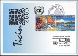 UNO GENF 2003 Mi-Nr. 342 Blaue Karte - Blue Card  Mit Erinnerungsstempel LOCARNO - Office De Genève