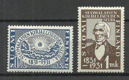 FINLAND FINNLAND 1931 Michel 162 - 163 * - Unused Stamps