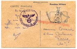 RC 14480 FRANCE WWII CARTE DE FRANCHISE MILITAIRE ILLUSTRÉE D'UN SOLDAT CHEVAUCHANT UN ESCARGOT + CENSURE ALLEMANDE TB - Marcophilie (Lettres)