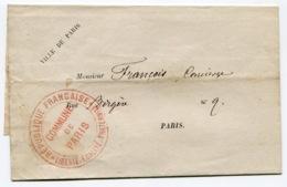 RC 14482 FRANCE 1871 COMMUNE DE PARIS FRANCHISE POSTALE POUR PARIS SUR IMPRIMÉ TB - Postmark Collection (Covers)