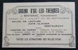 CASINO AX LES THERMES 1905 SENTENAC GERANT CAFE GLACIER THEATRE OPERETTE VAUDEVILLE PUBLICITE ANCIENNE ARIEGE 09 - Reclame