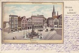 Lübeck, Klingenberg, Hotel Stadt Hamburg, Petrikirche, Klebekarte Glum 1900? #F7931 - Deutschland