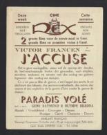 """GENT * GAND * CINEMA REX * CINE REX * AFFICHETTE """" J'ACCUSE """" * VICTOR FRANCEN * 1938 * IMP L F DE VOS * 14 X 11 CM - Werbetrailer"""