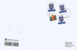 Latvia 2019 Salaspils Armory Beverina Marigold Tagetes Patula Flower Registered Cover - Briefe U. Dokumente