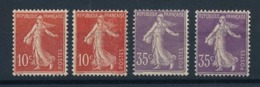 """DD-197: FRANCE: Lot Avec """" SEMEUSES""""  N°135*(2)-136*(2), Gomme 2ème Choix - 1906-38 Semeuse Con Cameo"""