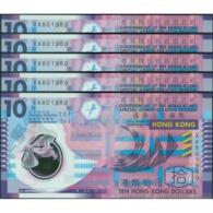 TWN - HONG KONG 401d - 10 Dollars 1.1.2014 DEALERS LOT X 5 - Prefix XA UNC - Hong Kong