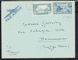 A.O.F. Affr. Mixte Sénégal Mauritanie - N° 133 + 124 Sur Enveloppe De St Louis, Via Marseille, Pour Beaumont (Fr) B/tb - - A.O.F. (1934-1959)