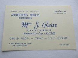06 Carte De Visite Chalet Mireille S. Reiss Boulevard Du Cap Antibes - Visitekaartjes