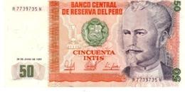 Peru P.131b 50 Intis 1987 Unc - Perú