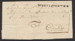 Précurseur - LAC Datée De Audenaerde (1776) + Obl Linéaire Noir WAESMUNSTER Vers Ghendt - 1714-1794 (Austrian Netherlands)
