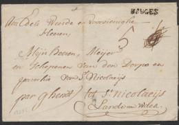 """Précurseur - LSC + Obl Linéaire BRUGES Vers St-Nicolaeijs Par Ghendt. Taxe """"4"""" Biffé Et Remplacé Par """"5"""" - 1714-1794 (Austrian Netherlands)"""