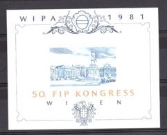 Exposition Philatélique De Vienne 1981 (WIPA) - Feuillet Souvenir Phase D'impression (bleu Et Or) - Expositions Philatéliques