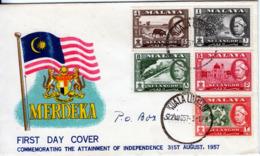SELANGOR  1957   INDEPENDENCE FDC - Selangor