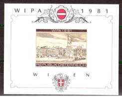 Exposition Philatélique De Vienne 1981 (WIPA) - Feuillet Souvenir Phase D'impression (brun, Rouge, Noir Et Or) - Expositions Philatéliques
