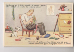 Homme Célibataire Reprise Ses Chaussettes - Humour - Couture - Illustration - Humour
