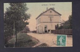 La Veuve (51) La Gare ( Chemin De Fer Animée Homme Peintre ? Sur Echelle Ed. Charbonnier Toilée ) - Francia