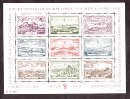 Exposition Philatélique De Vienne - 1965 - Feuille De 9 Vignettes - Vues D'Autriche - Expositions Philatéliques