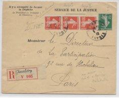 1912 - ENVELOPPE De SERVICE DE LA JUSTICE RECOMMANDEE De CHAMBERY (SAVOIE) => PARIS - SEMEUSES - Postmark Collection (Covers)