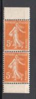 - FRANCE N° 158b Neufs ** MNH - 5 C. Orange Semeuse Camée, PAIRE VERTICALE DE CARNET  - Cote 9 EUR - - 1906-38 Semeuse Camée