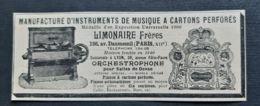 LIMONAIRE FRERES 1908 INSTRUMENTS MUSIQUE A CARTONS PERFORES ORCHESTROPHONE PIANOS AUTOMATIQUES PUBLICITE ANCIENNE PIANO - Advertising