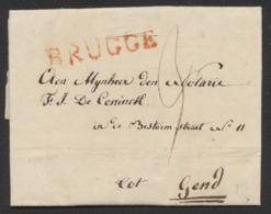 Précurseur - LAC Datée De Brugge (1820) + Obl Linéaire Rouge BRUGGE (type 2) Vers Gend - 1815-1830 (Dutch Period)