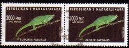 Madagascar 2002 Caméléon Furcifer Pardalis / Reptile / Animaux / Chameleon / N° 1831 Oblitéré Used Paire - Madagascar (1960-...)