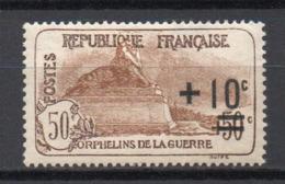 - FRANCE N° 167 Neuf * MH - +10 C. S. 50+50 C. Orphelins 1922 - Cote 27 EUR - - France