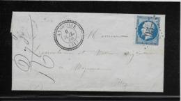 France N°22 Oblitéré GC 95 & Type 24 Andouille (51) 1866 - TB - 1862 Napoleon III