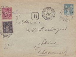 Entier Recommandé 15c Sage N° 89 N° 98 Ob Marseille 6 Fevr 96 Pour Skive Danemark - Postmark Collection (Covers)