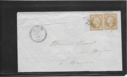 France N°21 Paire  Oblitéré GC 2980 & Type 24 La Poote (51) 1863 - TB - 1862 Napoleon III