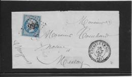 France N°22 Oblitéré GC 995 & Type 24 Cheméré Le Roi (51) 1867 - SUP - 1862 Napoleon III