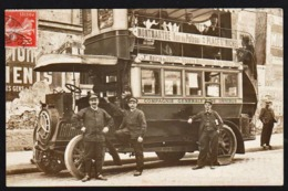 PARIS: Plan TOP Sur Un Omnibus à Deux étages: Montmartre/ Mairie Du XVIII, RARE Carte Photo Obl. En 1910 - Public Transport (surface)