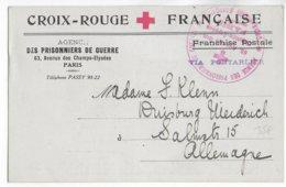 """1916 - CARTE FRANCHISE CROIX-ROUGE """"PRISONNIERS DE GUERRE"""" De PARIS => DUISBURG (ALLEMAGNE) ! - RED CROSS - Marcophilie (Lettres)"""