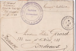 Cachet Dépot Des Isolés Des Troupes Coloniales De Port-Saïd CaD Trésor Et Postes 601 Du 1 3 1918 - 1. Weltkrieg 1914-1918