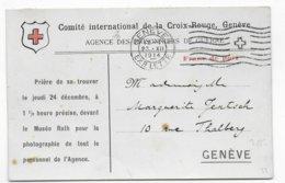 """1914 - CARTE FRANCHISE CROIX-ROUGE """"PRISONNIERS DE GUERRE"""" De GENEVE Avec INVITATION PHOTO Du PERSONNEL ! - RED CROSS - Marcophilie (Lettres)"""