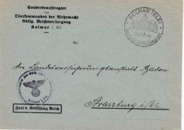 Env Frei Durch Ablôsung Reich Obl KOLMAR (ELS) Du 31.10.42 Am Fusse Der Hochvogesen Adressée à Strassburg - Postmark Collection (Covers)