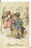 CARTE FANTAISIE - Illustration GERMAINE BOURET - Bonne Année ( Voyagée 1944) - Bouret, Germaine