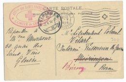"""1916 - CP CROIX-ROUGE """"PRISONNIERS DE GUERRE"""" De GENEVE => INTERNE FRANCAIS En SUISSE à MEIRINGEN Puis BRIENZ- RED CROSS - Marcophilie (Lettres)"""