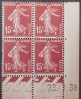 R1189/273 - 1936 - TYPE SEMEUSE - N°189 (II) TIMBRES NEUFS** CdF Daté - Coins Datés