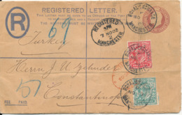 Great Britain Registered Postal Stationery Uprated With PERFIN Stamps Manchester 1902 Sent To Constantinopel - Stamped Stationery, Airletters & Aerogrammes