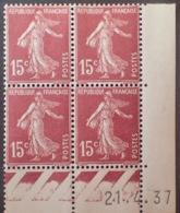 R1189/274 - 1937 - TYPE SEMEUSE - N°189 (II) TIMBRES NEUFS** CdF Daté - Coins Datés