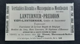 BISCUITS MASSEPAINS DE MONTBOZON VESOUL LANTERNIER PRUDHON VIDY FOURNISSEUR COUR ROYALE BELGIQUE PUB HAUTE SAONE - Advertising