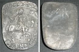 Rare Plaque En Métal, Homme à Cheval Cavalier Chevalier, MIHE SGVI DE LUSIGNAN - Obj. 'Herinnering Van'