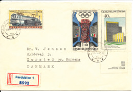 Czechoslovakia Registered Cover Sent To Denmark 1968 With Topic Stamps - Czechoslovakia